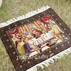 Yilong 2.5and039x3and039 The Last Supper Tapestry Handmade Silk Carpet Area Rug Tj100