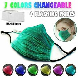 7Color LED Light up Face Masks USB Rechargeable Glowing Luminous Mouth Covers US $12.66