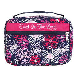 Pink Floral Trust Him Quilted 10.25x7.25 Fabric Bible Cover Case Handle, Large