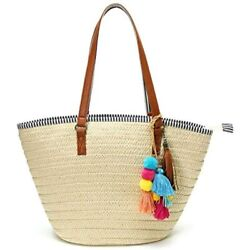 Straw Beach Bags Tote Tassels Hobo Summer Handwoven Shoulder Purse With Pom Poms $35.69