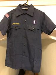 Youth Large Blue Boy Scouts Cub Scout Uniform Shirt Official Bsa Usa Made