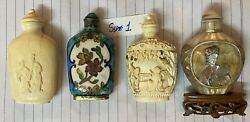 4 Antique Chinese Snuff Bottlemother Of Pearl Enamelall Hand Carved