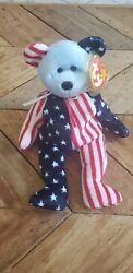 Spangle Blue Faced Beanie Baby With Rare Manufacture Tag