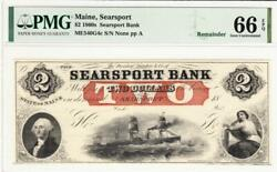 1860and039s 2 Searsport Bank Maine Searsport- Pmg 66 Epq- Gorgeous Rare Note