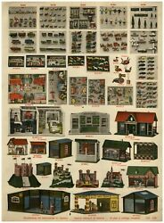 1930 Paper Ad Toys Color Doll House Gas Gasoline Station Castle Stable Animals