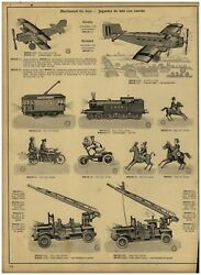 1930 Paper Ad Toys Mechanical Tin Toy Airplane Streetcar Locomotive Red Cross