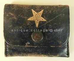 Vintage Masonic Leather Sewing Wallet Order Of The Eastern Star Genuine Insignia
