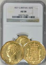 Great Britain 1827 George Iv Gold Sovereign Ngc Au-58 Scarce Date