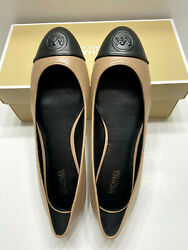 NEW Michael Kors Dylyn Ballet Womens Leather Flat Shoes ToffeeBlack 6.5 7.5 8 $54.88
