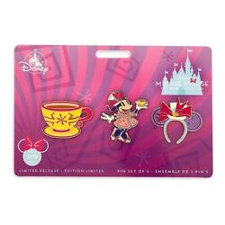 Disney New Minnie Mouse Main Attraction Mad Tea Party Pin Set Pins 3/12 March
