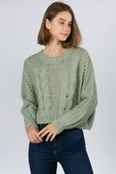 Sage Green Cable Knit Crop Sweater $42.00
