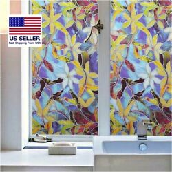 Decorative Window Film Privacy Anti-uv Static Window Cling Clematis