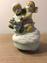Vintage Music Box Children Fetching Christmas Tree🌲 *Those Were The Days* 🎁 $25.00
