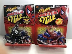 Spider-man And Venom Battle Cycle Marvel Toy Biz 1997 Bump And Go Cycle Lot Of 2 New