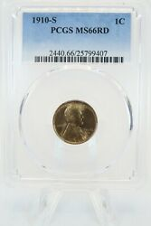 1910-s Pcgs Ms66rd Lincoln Wheat Cent Business Strike 1c