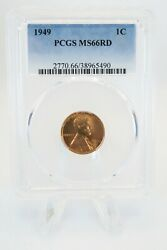 1949-p Pcgs Ms66rd Lincoln Wheat Cent Business Strike 1c