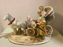 Lrg Antique German Thuringia Grafenthal Hand Painted Porcelain Carriage Figurine
