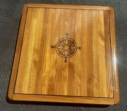 34 By 34 Teak Yacht/boat/rv Table High Gloss Finish With Compass Rose Inlay