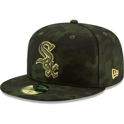 New Era 59fifty Armed Forces Day Chicago White Sox Dark Camo Fitted Hat Sz 7 New