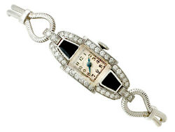 Vintage Art Deco 0.95ct Diamond And Onyx Platinum Cocktail Watch By And039hamiltonand039