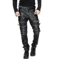 Hot Mens Spring Punk Long Pants Metal Decor Rock Gothic Youth Casual Trousers Sz