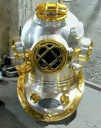 Vintage Diving Helmet Heavy Model Silver And Gold Plated Perfect Mark V Helmets