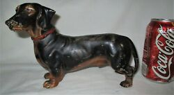 Antique Hubley Cast Iron Dachshund Weenie Dog Doorstop Door Statue Toy Sculpture