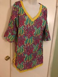 Tunic Top cotton colorful Spring Coral design Beach Large WB WOMENS 3 4 sleeve $14.99