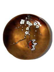 Bovano Of Cheshire Wall Plate Copper Plate Butterfly Cherry Blossom Handpainted