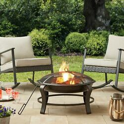 28 Outdoor Fire Pit W/ Mesh Lid + Pvc Cover Park Bowl Wood Burning Chiminea