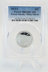 2014-s Pcgs Pr69dcam Silver Great Smoky Mountains National Park Np Proof 25c
