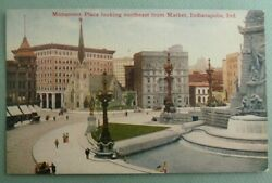 Indianapolis Indiana Postcard Antique Monument Place Downtown View c1910 IN PC