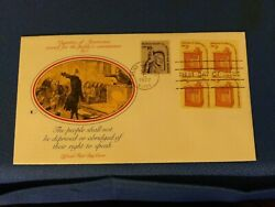 Scott 1582 2 Cent Plate Block Stamps Honoring The Right To Speak Fdc