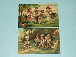 Lot 2 Vtg 1900and039s Relief German Postcard Children Ring Of Roses The Kings Army