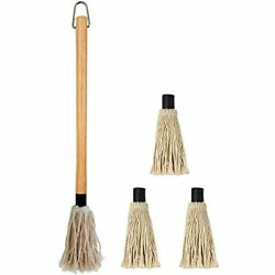 18 Inches Large Bbq Basting Mop With 3 Extra Replacement Heads Grilling Andamp