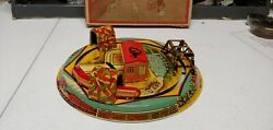 1932 Louis Marx Honeymoon Express Train Station Tin Lithographed Mechanical Toy