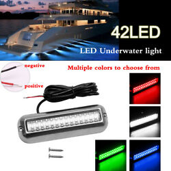 42led Red Boat Light Stainless Steel Underwater Transom Light Waterproof Ip68+