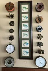 Antique Fishing Lot W/ 11 Reels 3 Antique Barometers And Custom Fly Artwork