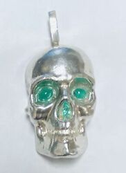 3-d Skull Pendant With Emerald Eyes And Nose 10 Oz .999 Silver Hand Poured
