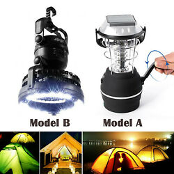 36led Camping Solar Panel Lantern Lights Kit Usb Rechargeable /battery With Fan