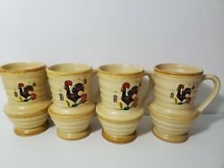 Argilart Portugal Rooster Coffee Cup Hand Thrown Set Of 4