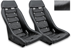 Retro Classic R1 Vintage Racing Bucket Seats Perforated W/ Grommets Pair