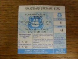 08/01/1994 Ticket Plymouth Argyle V Barnet Light Creasing. Please Find This