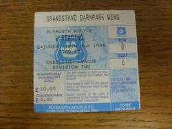 12/04/1994 Ticket Plymouth Argyle V Reading Creased. Please Find This Item O