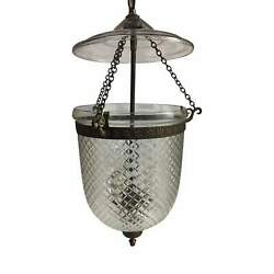 Bell Jar Lantern With Etched Glass