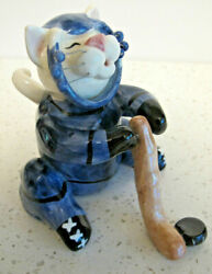 ANNACO CREATIONS WHIMSICLAY CAT FIGURINE Hockey Player 5quot; tall
