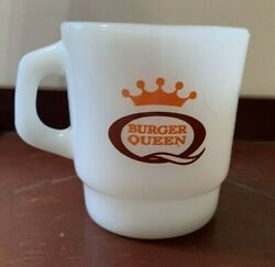 Vintage Burger Queen Good Morning White Fire King Mug Coffee Cup S-49