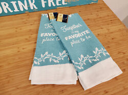 Home Collection Kitchen Dish Towels 15x25quot; Coastal Blue White