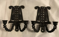 Vintage Wilton Cast Iron Wall Sconces Double Candle Holders Tassel Scroll Brooms