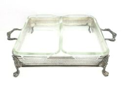 Vintage Silver Plated Chafing Holder W/ Double Fire King 1 Qt. Dishes